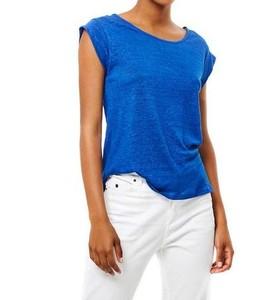 Camiseta Lino Azul Cobalto de Surkana