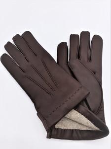 Guante Tanne color Marrón de la marca SANTACANA costura exterior y venas a mano, forro Lana Merino