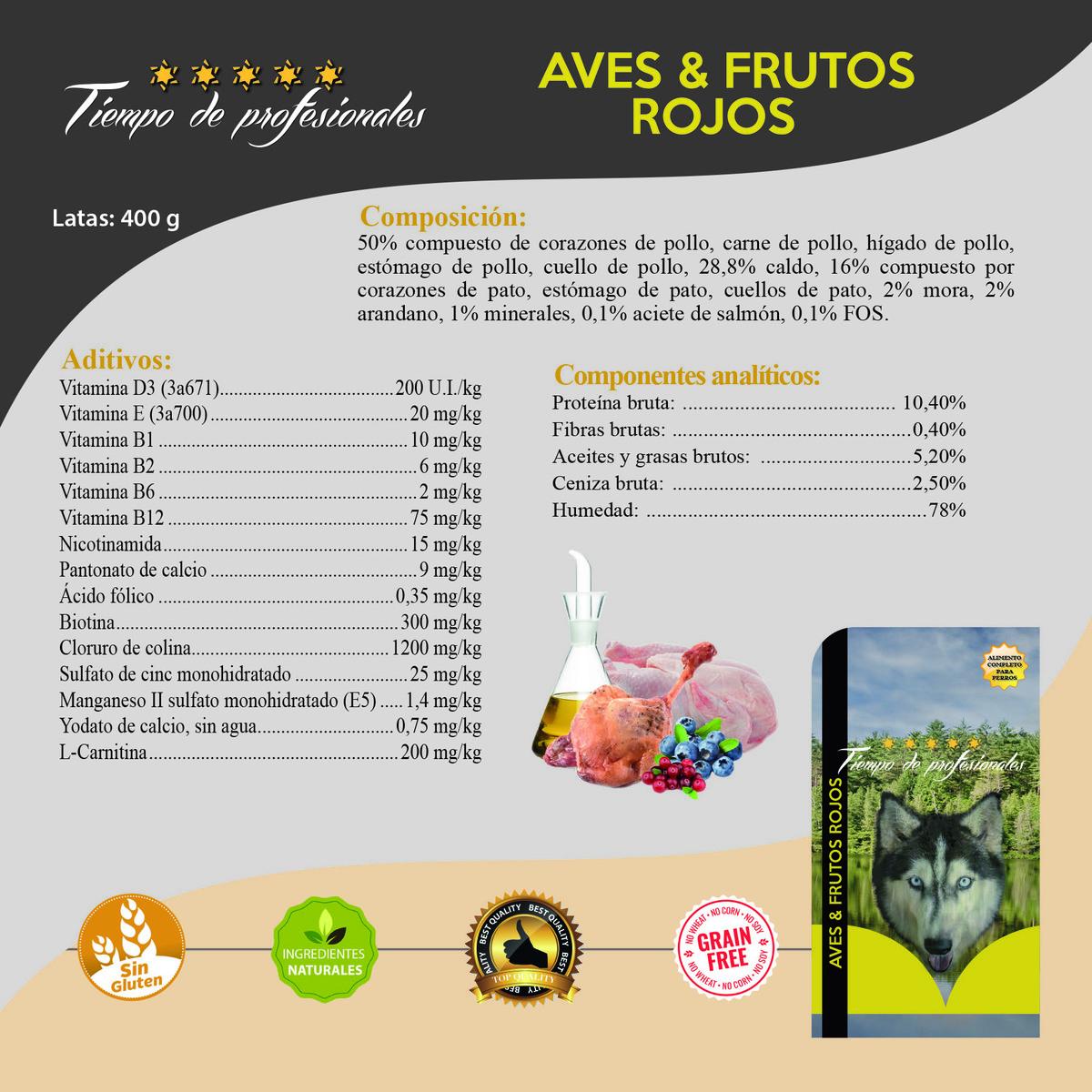 Latas Ave & Frutos Rojos 400gr