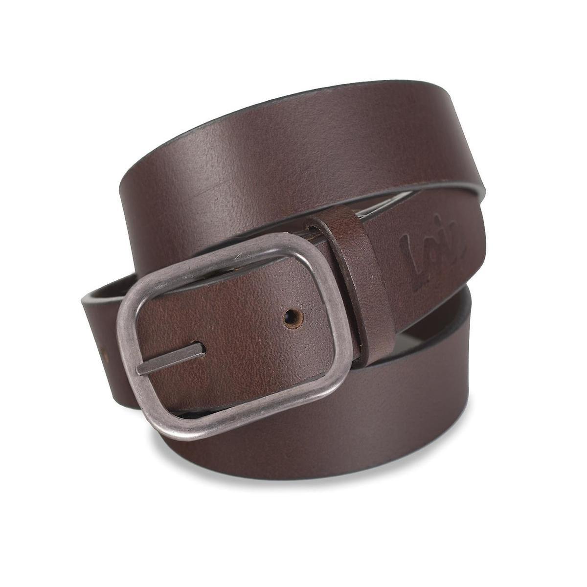 Cinturón Lois de piel marrón de 4 cm de ancho