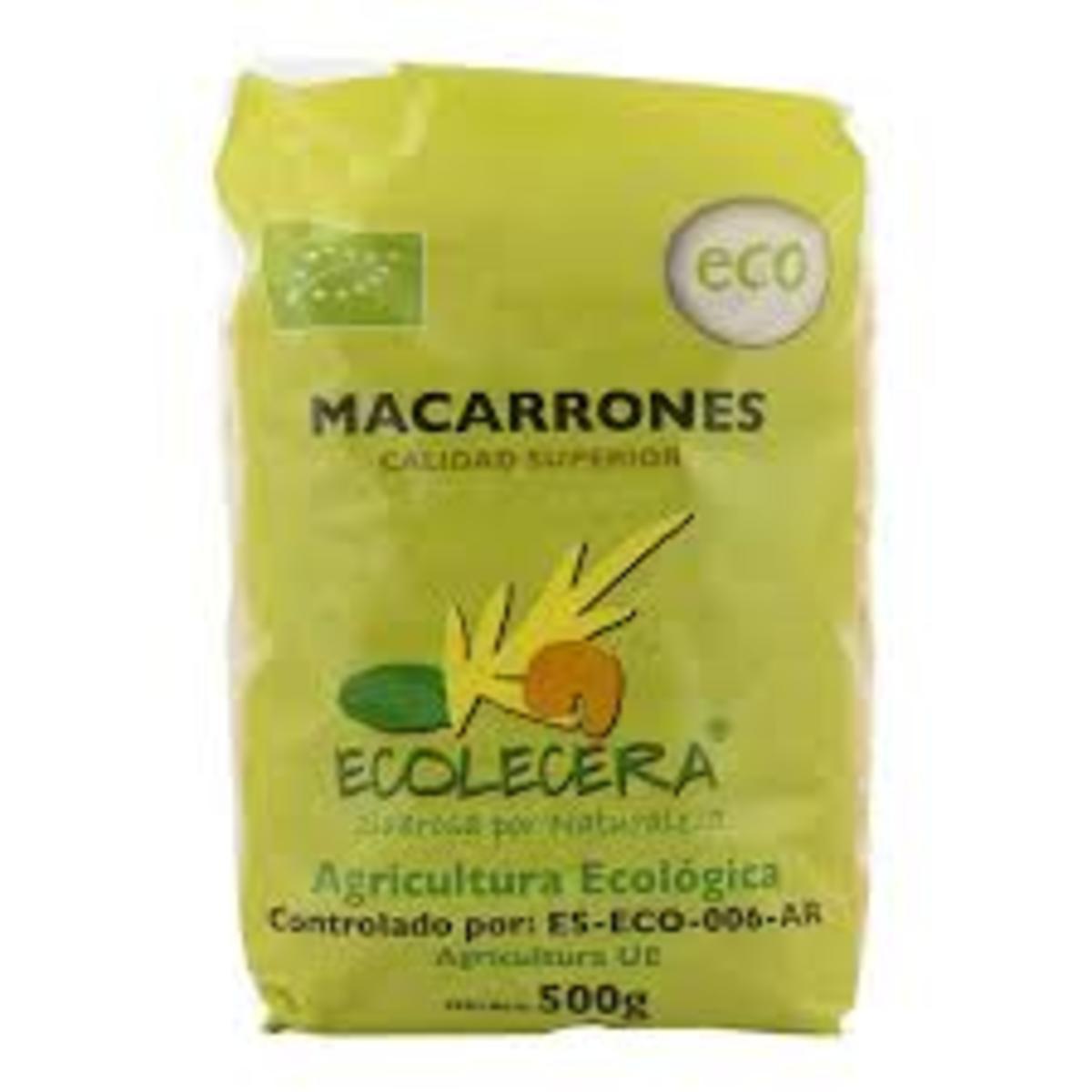 Macarrones Ecológicos 500G. Ecolécera