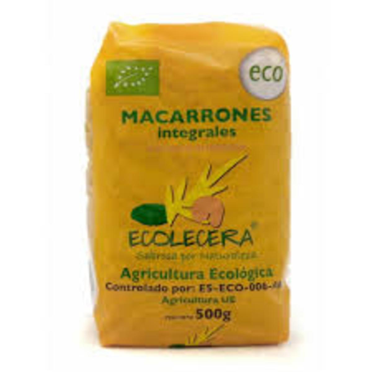 Macarrones Integrales Ecológicos 500G. Ecolécera