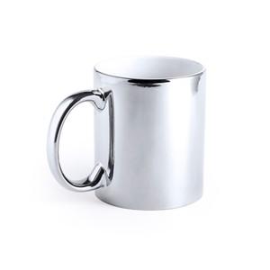 Taza cerámica color plata
