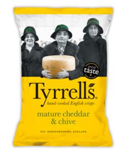 Tyrells sabor queso cheddar y cebollino 150gr